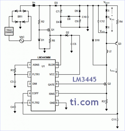 LM3445 - TRIAC dimmable offline LED driver