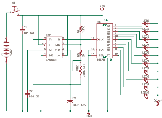 Running Lights with CD4017